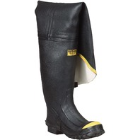 """36"""" Heavy-Duty Men's Full Rubber Hip Boots With Steel Toe, Black & Yellow-S15"""