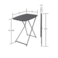 Cosco 18in X 26in Adjustable Height Personal Folding Table, Black, 2 Pack