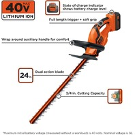 "BLACK DECKER 40V Lithium-Ion 24"" Cordless Hedge Trimmer, Battery-Charger Incl."