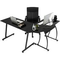Greenforest L-Shape Corner Computer Workstation Office Desk  3-Piece,Black