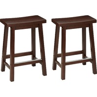 Set Of 2 Solid Wood Saddle-Seat Kitchen Counter Stool, 24 Inch, Walnut,