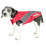 Helios Octane Softshell Neoprene Satin Reflective Dog Jacket, Red, Grey, LG