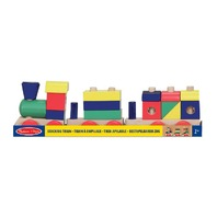 Melissa & Doug Classic Wooden Stacking Train Toy - Coloured Blocks & Shapes - 2
