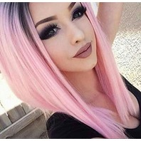 Aisi Hair Ombre Pink Wigs Straight Short Length Cosplay Costume Wigs For Women