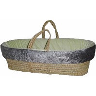 BabyDoll Croco Minky Moses Basket Set, Grey/Sage
