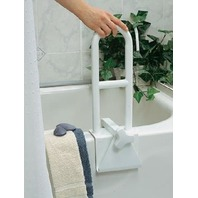 "Medline Tool-Free Bath Tub Support Bar, 250lb Weight Capacity, Rail Grips Bathtubs Up To 6"" Wide"