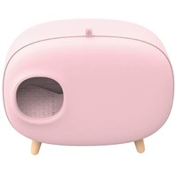 Pet Cat Litter Box, Space Efficient - Quick and Easy to Clean - Pink