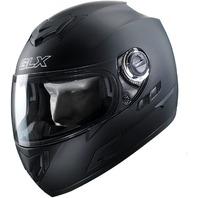 GLX Full Face Street Bike Motorcycle Helmet Dual Visor Sun Shield Matte Black