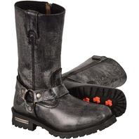 11.5 Milwaukee Leather Mens Distressed Gray Classic Harness Square Toe Boot