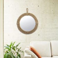 "16.5"" Round Decorative Rope Wall Mirror with Loop Hanger Tan"