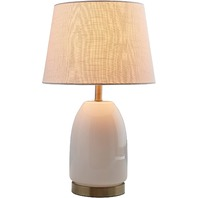 Rivet Transitional Glass Lamp With Bulb, White With Brass Trim, Milk Glass