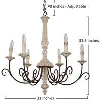 Rustic Retro White Wood Chandelier, Antique Farmhouse Candle-Style Chandelier