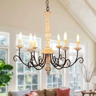 Rustic Retro White Wood Chandelier, Antique Farmhouse Candle-Style Chandelier