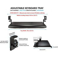 Ergoactive Extra Wide Under Desk Keyboard Tray With Clamp On