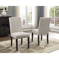 Roundhill Furniture Biony Tan Fabric Dining Chairs With Nailhead Trim