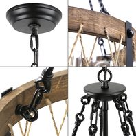 5-Lights 19'' Farmhouse Chandelier,Hemp Rope Wood Chandelier w Clear Glass Shade