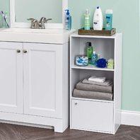 Iris 3-Tier Wood Storage Shelf With Door, White