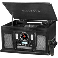 Victrola Nostalgic Aviator Wood 8-In-1 Bluetooth Turntable, Black