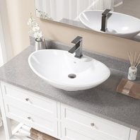 V2102-White Porcelain Vessel Sink Antique Bronze Ensemble w 720 Vessel Faucet