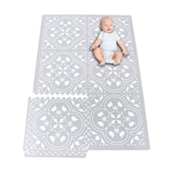 Eggyo Premium Stylish Foam Baby Mat, 72 By 48 Inches, White And Gray