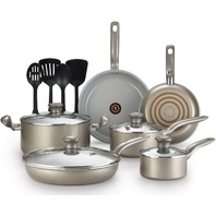 T-Fal  Initiatives Nonstick Ceramic Coating Cookware Set, 14-Piece, Gold