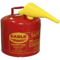 EagleRed Galvanized Steel Type I Gasoline Safety Can With Funnel, 5 Gallon