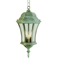 Trans Globe Lighting Burlington Outdoor Black Gold Hanging Lantern, 19.5""
