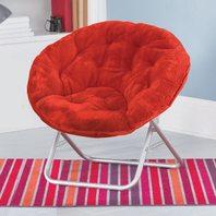 Urban Shop Faux Fur Saucer Chair, Adult, Red