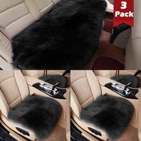 Big Ant Sheepskin Seat Covers Full Set, 2pc Front Car Seat Pad   1pc Rear Car Seat Cover Authentic Australian Soft Wool