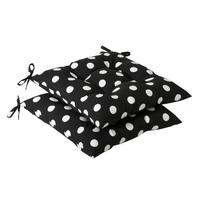 Pillow Perfect Indoor/Outdoor Black/White Polka Dot Tufted Seat Cushion, 4-Pack