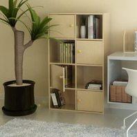 Furinno Pasir 4-Tier Shelf With 4 Door/Round Handle, Steam Beech (READ)