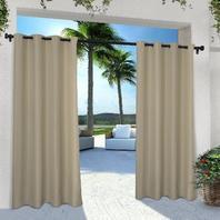 Cabana Grommet Top Window Curtain Panel Pair, Taupe, 54x108