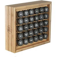 Allspice Wood Spice Rack, Includes 30 4oz Jars- Bamboo