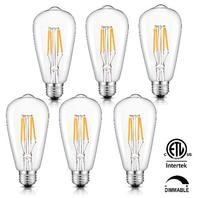 Crlight Led Edison Bulb 4w 2700k Warm White 400lm Dimmable, Pack Of 6