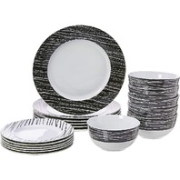 18-Piece Kitchen Dinnerware Set, Dishes, Bowls, Service for 6, Sketch