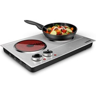 Cusimax 1800w Ceramic Electric Hot Plate Electric Cooktop Silver Stainless Steel