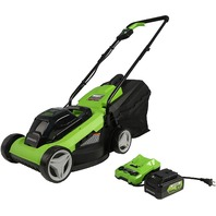 """Greenworks 24V 13"""" Lawn Mower, 4Ah USB Battery and Charger Included MO24B410"""