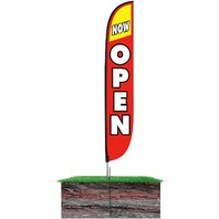 Lookourway Now Open Feather Flag Complete Set With Pole Ground Spike, Red/Yellow
