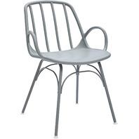 """Rivet Nova Modern Slatted-Back Plastic Dining Chair, 21.6""""W, Moss Gray"""