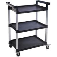MaxWorks 80774 3-Shelf Utility Plastic Cart With Wheels, 225 lb (Max Capacity)