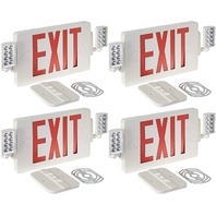 Gruenlich LED Combo Emergency Exit Sign With 2 Adjustable Head Lights  4 pack