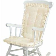 Baby Doll Bedding Carnation Eyelet Adult Rocking Chair Cushion Pad Set, Ecru