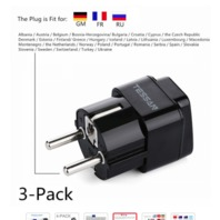 Tessan Grounded Universal Travel Plug Adapter - 3 Pack