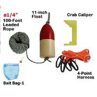 "KUFA ø1/4"" x 100' leaded Rope,14'' Float,Harness,Cliper,Bait Bag Combo CAQ3"