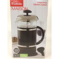 Trudeau Maison Coffee Press With Chrome Plate Lid Blackclearstainless