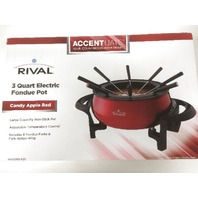 Rival Black Ice Electric Fondue Pot 3 Quart Non-stick 8 Forks