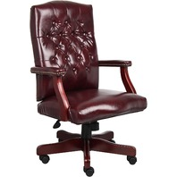 Classic Executive Caressoft Chair With Mahogany Finish In Burgundy