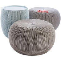 Keter 2-Piece Cozy Urban Knit Furniture Set, (Missing one Chair/Pouf)
