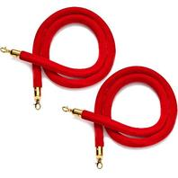 2-Pack Red Velvet Stanchion Rope with Gold Chrome Plated Hooks,