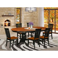 7 Pc Kitchen Table Set With A Dining Table And 6 Chairs In Black And Cherry